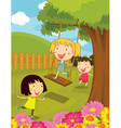 Cartoon of kids in the park vector image