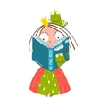 Clever Little Princess Reading Fairy Tale with vector image