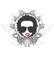 Funky face emblem vector image