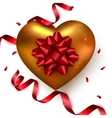 Gold heart with red ribbon confetti on white vector image