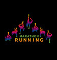 people marathon running top view with text graphic vector image