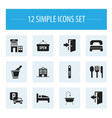 set of 12 editable hotel icons includes symbols vector image