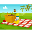 Summer picnic with park landscape cartoon basket vector image