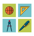 white background with frames of school elements vector image