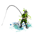 Colored hand drawing fisherman vector image