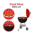 Barbecue set - grill station fried fresh meat vector image