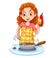 Woman cooking with a pan vector image vector image
