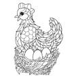 Hen Hand drawn decorative farm animal vector image