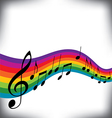 A musical score with a rainbow motif vector image vector image