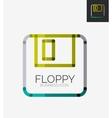 Minimal line design logo floppy icon vector image