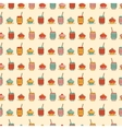 Seamless pattern with cupcake coffee or tea icons vector image