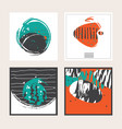 set of square cards dedicated to sea vector image