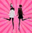 two girls dancing vector image