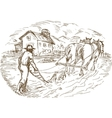 Farmer and horse plowing the field with barn vector image vector image