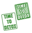 Time to Detox rubber stamp isolated on white vector image