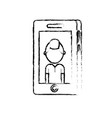 figure smartphone technology with man picture vector image