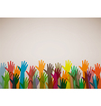 Hands of different colors cultural and ethnic dive vector image
