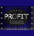 graph and word profit on a black and blue vector image