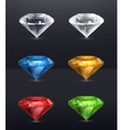 Gems set of icons on black vector image vector image