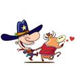 cow boy dance vector image vector image