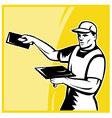 plasterer worker with trowel working vector image vector image