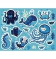 Sticker set of ocean animals in cartoon style vector image