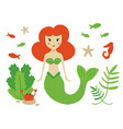 cute cartoon sea life set with mermaid vector image