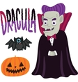 Halloween Dracula character with pumpkin and bat vector image