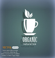 Organic natural tea icon On the blue-green vector image