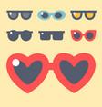 fashion set sunglasses accessory eyeglasses vector image