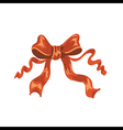 red satin ribbon on white background vector image