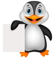 Cute penguin cartoon holding blank paper vector image vector image