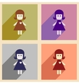 Set of flat web icons with long shadow girl vector image