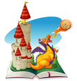 Fantacy book with drago and castle vector image