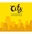 panorama of big city with header on yello vector image