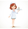 Cute girl nurse in white medical coat with a tray vector image