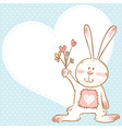 Card with smiling toy bunny holding flowers vector image