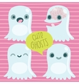 Cute cartoon ghost set Funny Halloween character vector image
