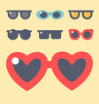 fashion set sunglasses accessory eyeglasses vector image