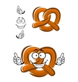 Happy cartoon bavarian crispy pretzel vector image