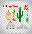 mexico icons set on transparent background vector image