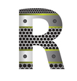 perforated metal letter R vector image