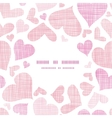 Pink textile hearts center frame seamless pattern vector image