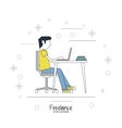 Cartoon man and freelance design vector image