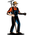 Farmer holding a rake vector image