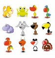 Set of 16 Cute Cartoon Animals vector image