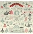 Hand Drawn Artistic Christmas Doodle Icons on vector image