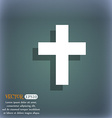 religious cross Christian icon On the blue-green vector image