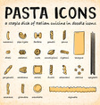 Doodle Icons of Various Pasta Types vector image