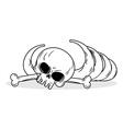 Remains of skeleton Bones and skull on white vector image